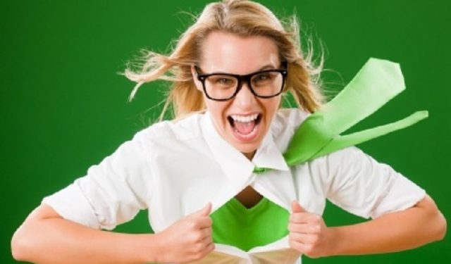 Woman Superhero Wearing Glasses and Green Tie and Shirt