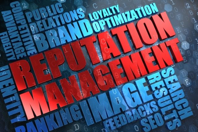 Reputation Management - Red Main Word with Blue Wordcloud on Digital Background.